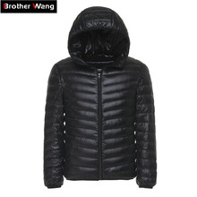 6 Colors 2018 Winter Mens Light Down Jacket Clothes Fashion Casual Hooded Warm White Duck Down Coat Male Brand Clothing cheap Nylon Wide-waisted 100g Brother Wang 0 35 kg Broadcloth Full LM005 None Zipper Regular Solid Black Green Blue Navy Red Light Tan