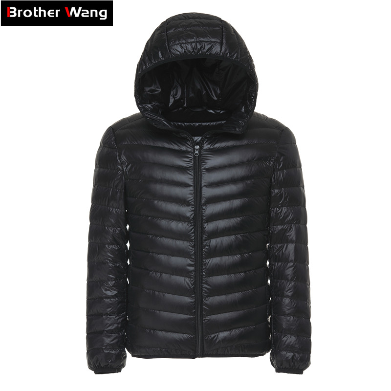 6 Colors 2019 Winter Men's Light   Down   Jacket Clothes Fashion Casual Hooded Warm White Duck   Down     Coat   Male Brand Clothing