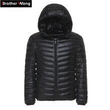6 цветов 2019 зимняя мужская легкая пуховая куртка модная повседневная с капюшоном теплое белое пуховое пальто Мужская брендовая одежда