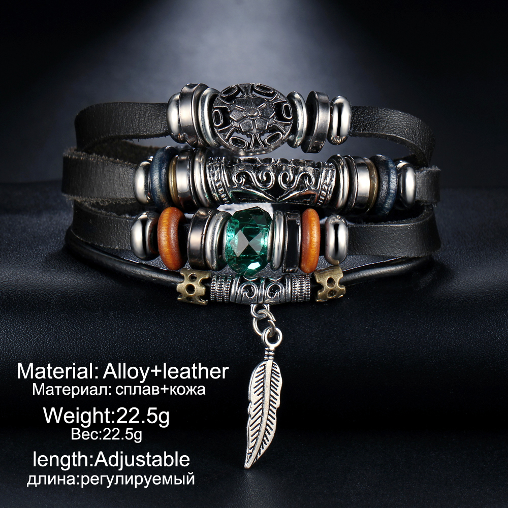 IF ME Design Turkish Eye Leather Bracelet For Men Woman Multiple Layer Feather Bracelet Fashion Wristband Party Jewelry Gift 3