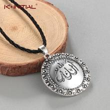 Kinitial Mode Allah Halskette Islamischen Charme Arabisch Anhänger Halsketten Geschenk Islam Muslim Quran Seil Kette Schmuck für Männer Frauen