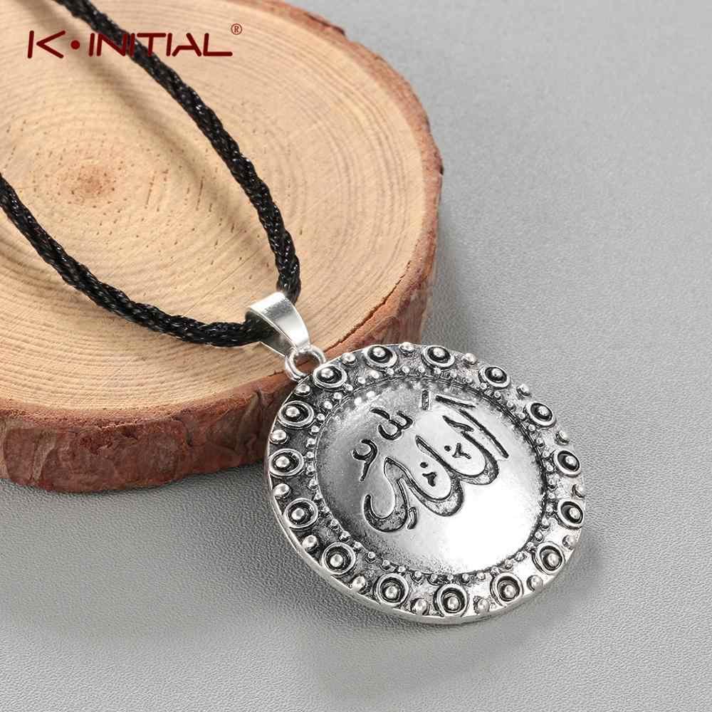 Kinitial ファッションアッラーネックレスイスラムチャームアラビアペンダントネックレスギフトイスラム教徒コーランロープチェーン男性女性のための