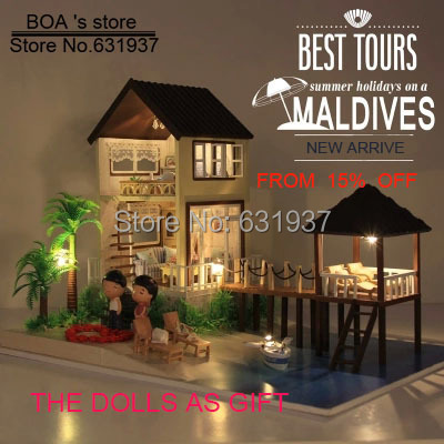 ФОТО Free New Large Dollhouse c DIY Handmade Maldives Wooden Doll House all Houses Furniture including 3D LED light Toy Birthday Gift