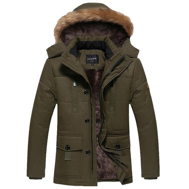 2016 мода зимняя куртка мужчины плюс размер 5XL С Капюшоном меховой воротник Плюс бархатные толстые зимние куртки мужские