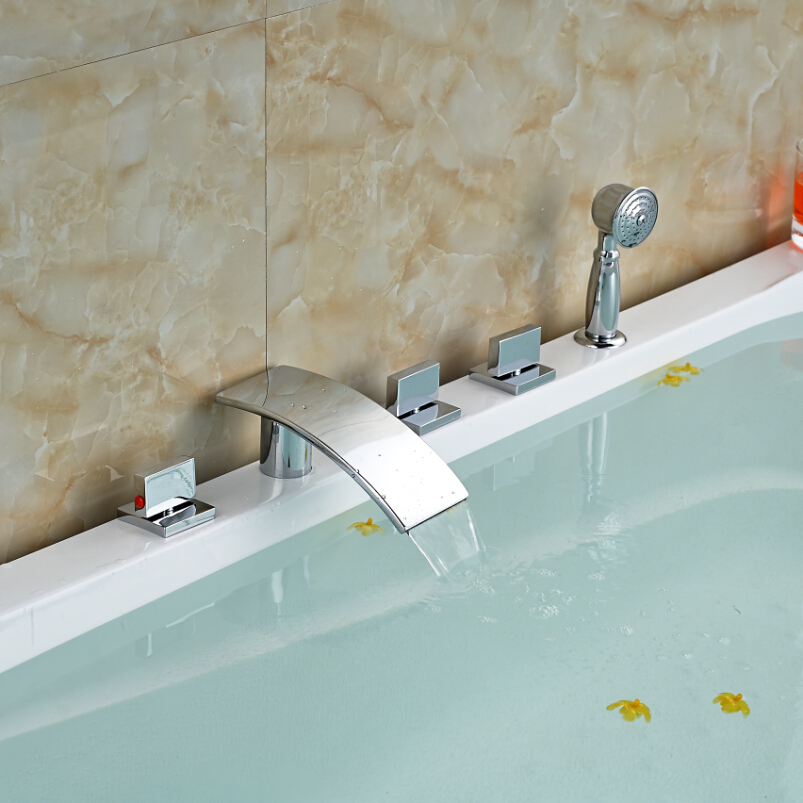 Polished Chrome Widespread Waterfall Roman Tub Mixer Taps Deck Mount 5pcs Bathtub Faucet Brass Handshower deck mount luxury 5pcs bathtub tub mixer taps bathroom widespread chrome brass bath tub faucet with handshower