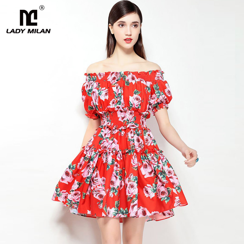 New Arrival 2018 Womens Sexy Slash Neckline Floral Printed Elastric Waist Ruffles Fashion Designer Short Casual Dresses