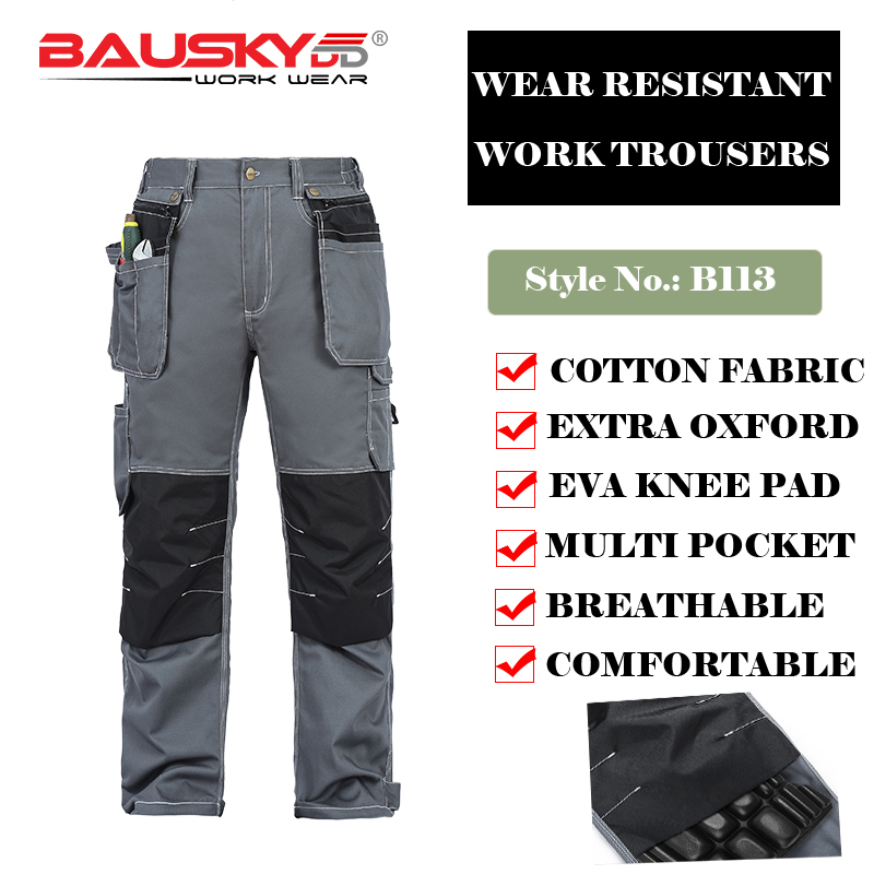 Bauskydd B113 Mens Male Durable workwear multi-pocket trousers with EVA knee pads 100% cotton work pants free shipping bauskydd ce eva knee pads for work kneelet for work pants genouillere knee protection detachable removable knee pads kneepads