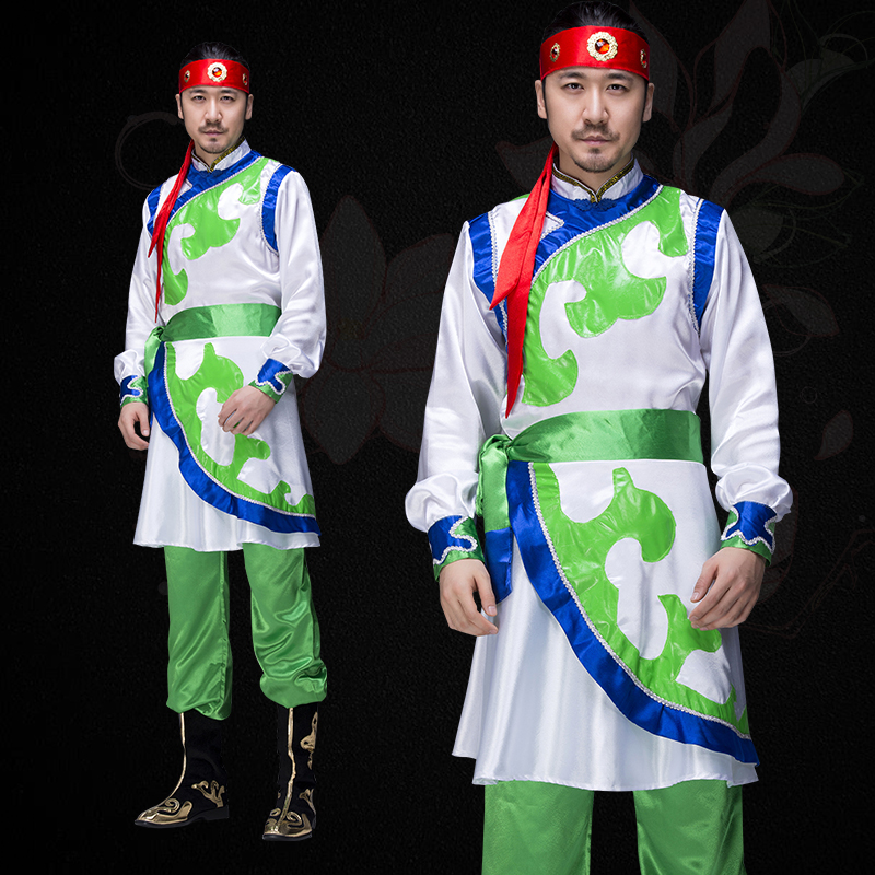 green mongolian costume for men Tibetan nationality clothing adults minority dance costume festival dance national costume