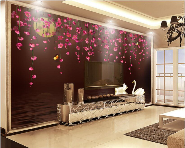 Online shop beibehang custom wedding wall decorative wallpaper beibehang custom wedding wall decorative wallpaper fashion flower vine butterfly swan tv wall painting wallpaper living room junglespirit Choice Image