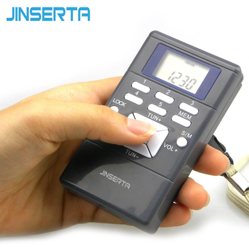 JINSERTA Portable Mini Radio Frequency Modulation Digital LED Display Radio Receiver Signal Processing +Earphone+Lanyard