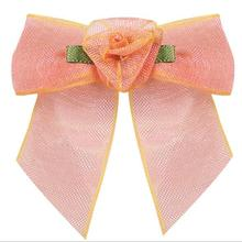 200pcs    Organza Ribbon Wired Rose Rosette Flower Bridal Hair Bow Accessory