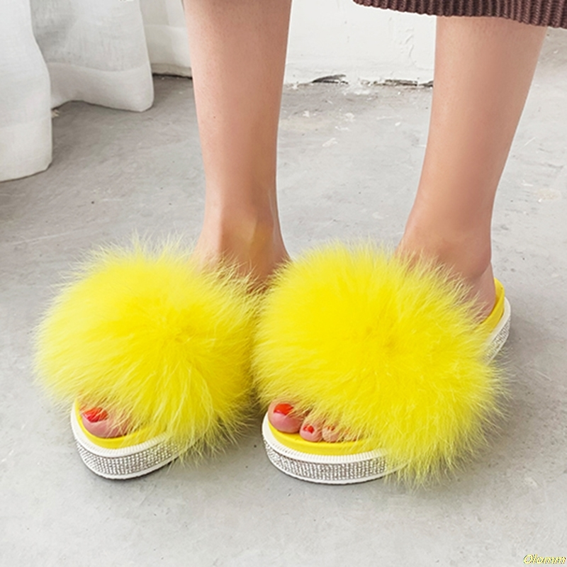 2019 Summer fox fur slides Cute crystal Plush Fox slippers 100% real fox hair luxury fashion beach slippers2019 Summer fox fur slides Cute crystal Plush Fox slippers 100% real fox hair luxury fashion beach slippers