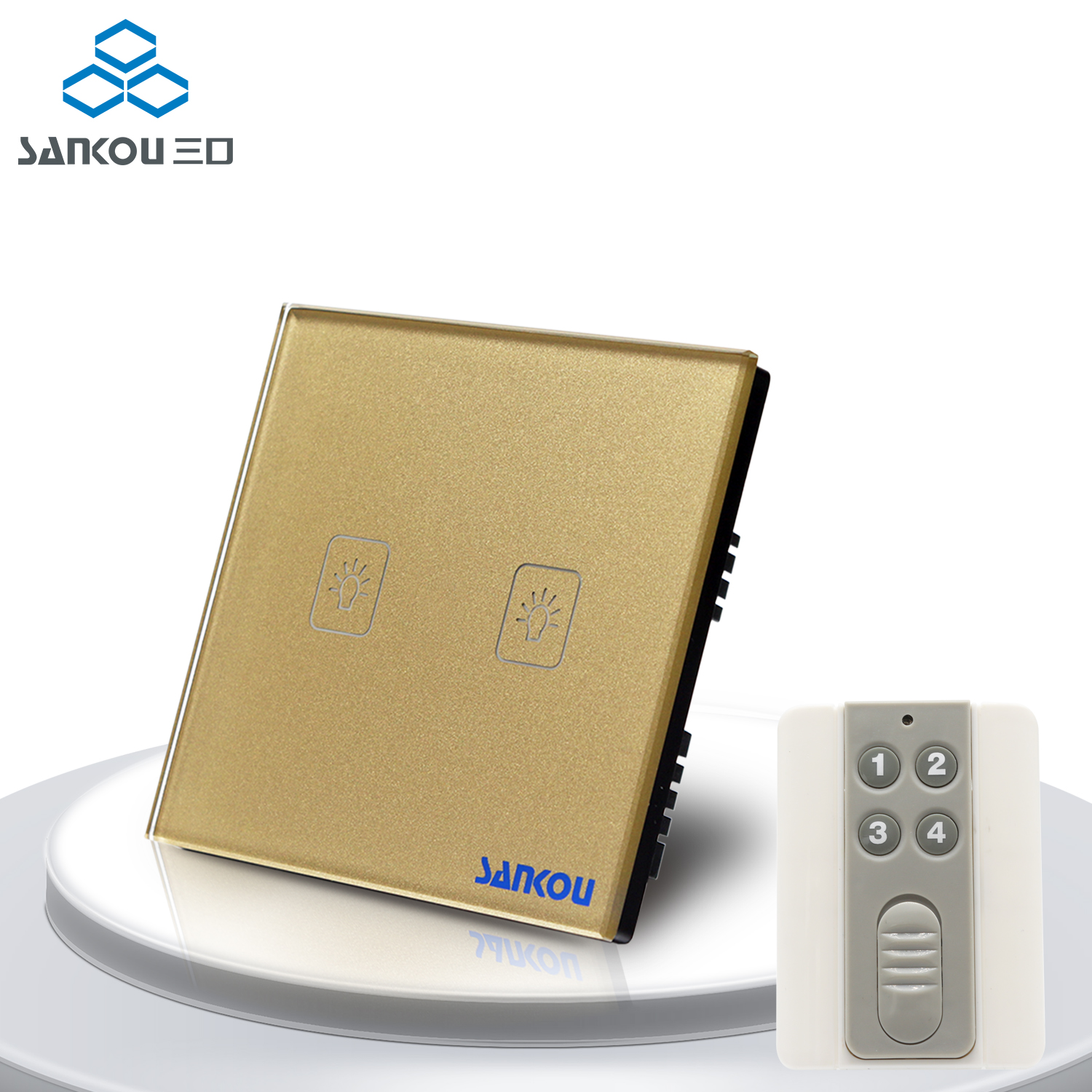 Cnskou  UK Standard 2Gang Remote Touch Switches Golden Crystal Glass+LED Panel Wall Light Switch&Remote Controller 3gang1way uk wall light switches ac110v 250v touch remote switch
