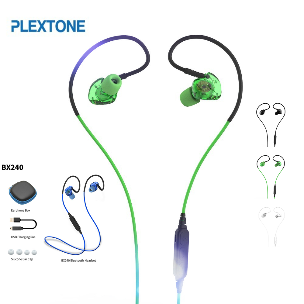 Wireless PLEXTONE BX240 Bluetooth Earphones IPX5 Waterproof Sport Super Bass Stereo Headsets With Mic for iPhone iphone x 8 7