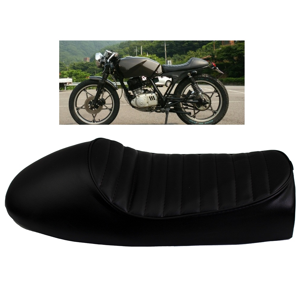 US $24 59 49% OFF|Black Motorcycle Cafe Racer Seat Custom Vintage Hump  Saddle Flat pan Retro Seat Fit For Honda CB125S CB200 CB350 CL350 CB400 on