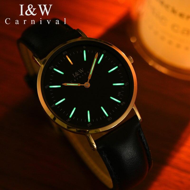 CARNAVAL Haut De gamme Femmes montres mode ultra-mince montre À Quartz avec d'importation original mouvement Suisse, tritium lumineux Reloj mujer