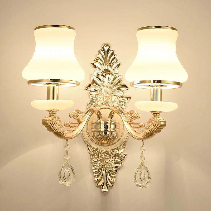 French 1-2 pcs Art deco Artificial marble Wall Lamp hallway Crystal Wall lighting Hall Corridor Aisle Tv Background Wall sconce