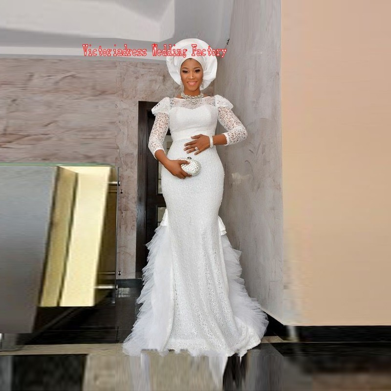New-Arrival-Africa-Nigeria-Dress-Three-Quarter-Sleeve-Mermaid-Floor-Length-Long-Evening-Dress-White-Lace (2)_conew1