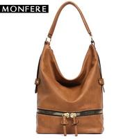 Monfere Large Casual Hobos Women Bag 2017 Fashion Ladies Soft PU Leather Zipper Shoulder Bag Brand