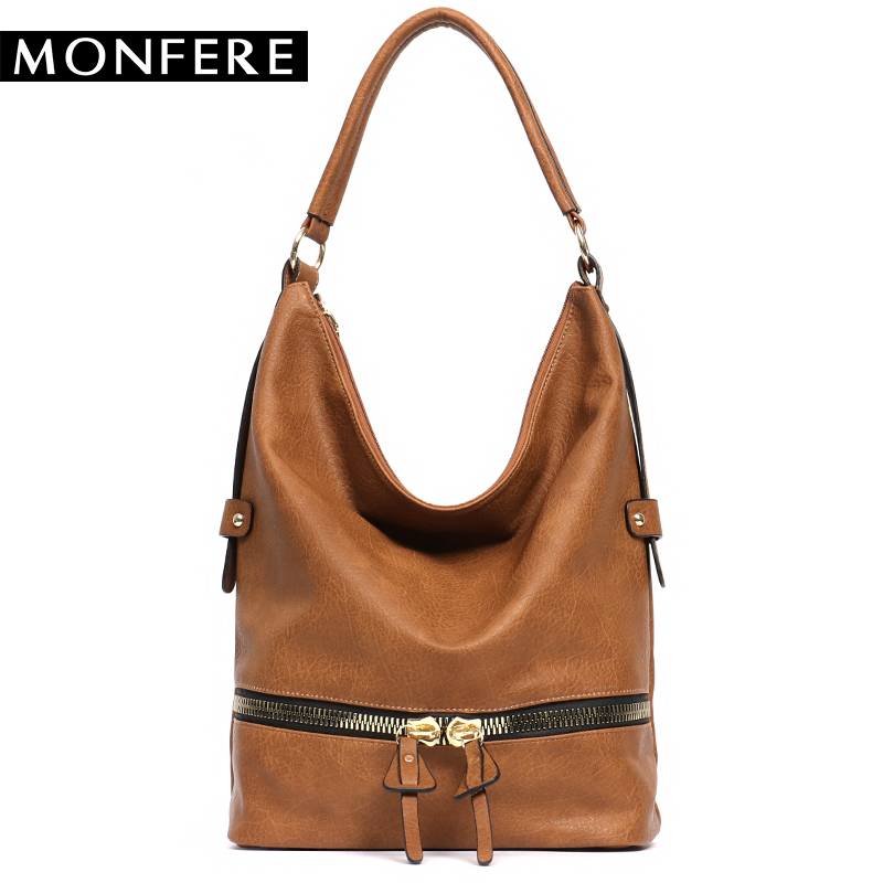 Monfere large casual hobos women bag fashion ladies soft PU leather zipper