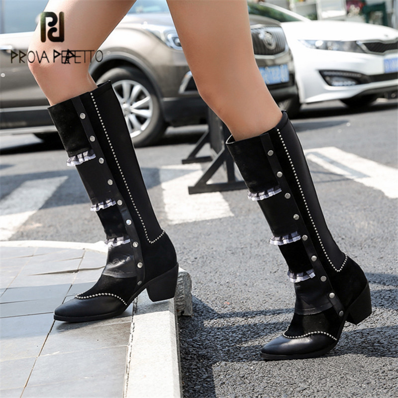 Prova Perfetto Black Women Knee High Boots Pointed Toe Female Chunky High Heel Boot Slim Fit Elastic Autumn Winter Botas Mujer все цены