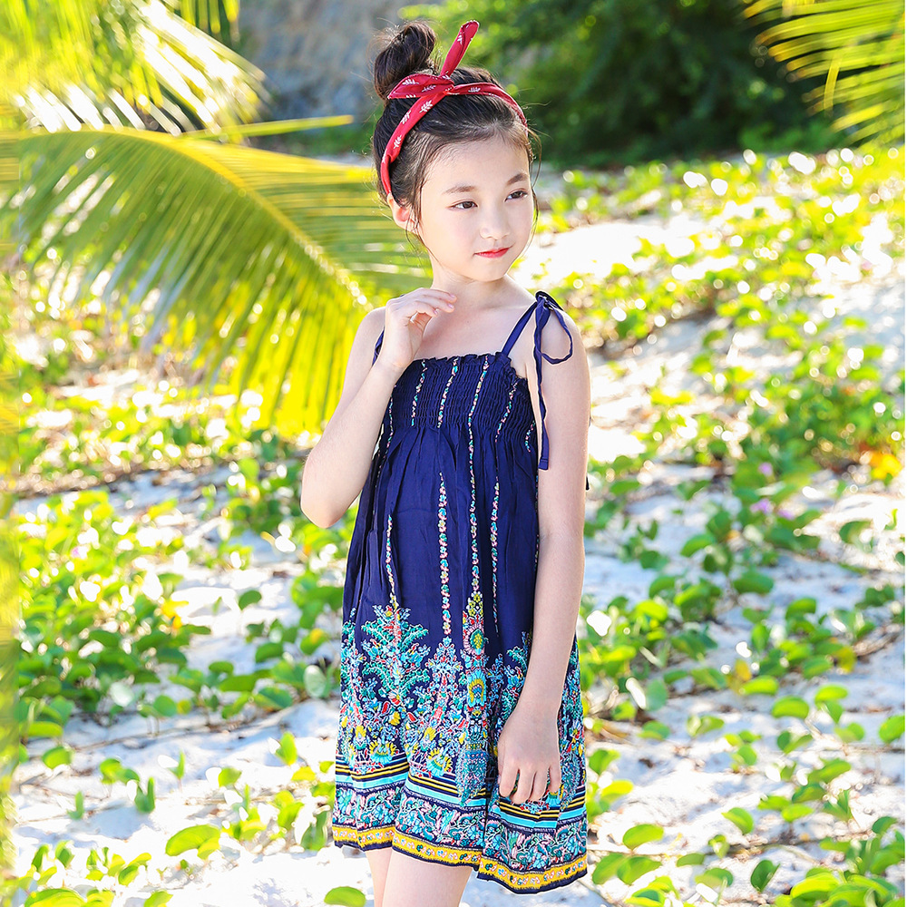 cec4b9884dcaa Big Girls Beach Dresses 2018 Summer Brand Teenagers Dress Kids Clo...
