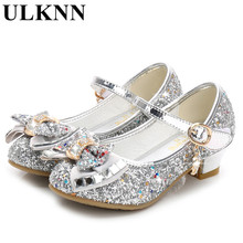 ULKNN Enfant princess shoes 2018 spring new girls shoes high-heeled shoe fashion children's high heels silver gold pink blue Bow 2017 new high heeled shoes woman pumps wedding shoes platform fashion women shoes red high heels 11cm suede