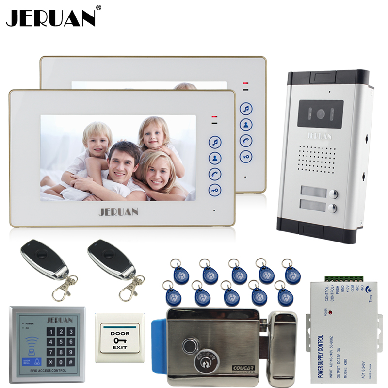 JERUAN Apartment 2 White Doorbell 7`` Video Door Phone Intercom System kit 2 Touch key Monitor 1 HD Camera RFID Access Control hd apartment building intercom system access control system of intelligent video intercom doorbell project customized wholesale