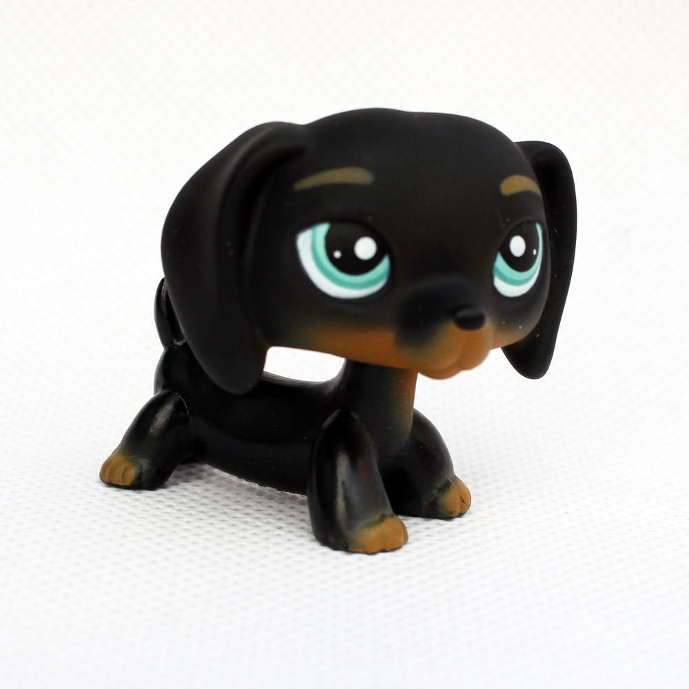 Rare Animal pet shop lps toys DACHSHUND #325 cute little black sausage dog toy for kids Christmas present pet shop toys dachshund 932 bronw sausage dog star pink eyes