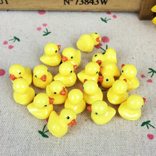 10Pieces Flat Back Resin Cabochon Yellow Duck DIY Decoration Crafts Making Fairy Garden Miniatures Terrarium Figurines:15mm