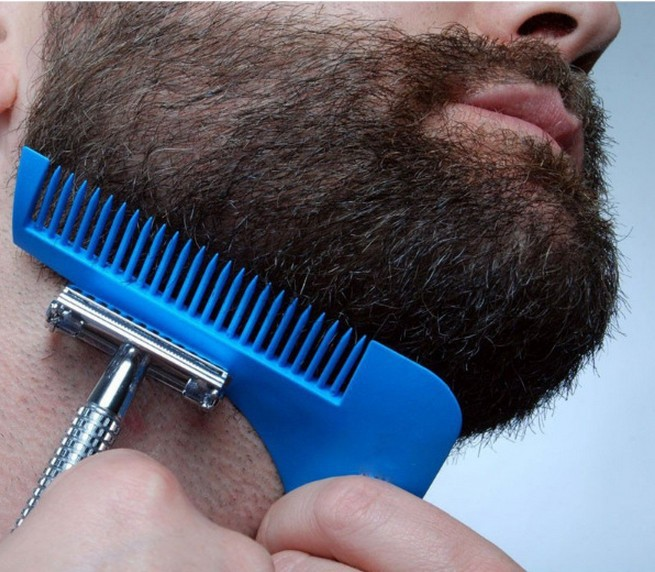 2018 blue beard shaping tool for men styling template shaping comb