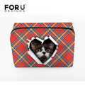Classic Plaid Red Shirt Pattern Cosmetics Case For Women Cute Cat Head Make up Bag Lady Travel Organizer  Pouch Toiletry Storage
