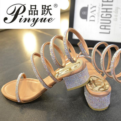 2019 Summer Women Sandals Bling Pointed Toe High Heels Hollow Out Pumps Woman Shoes Genuine Leather