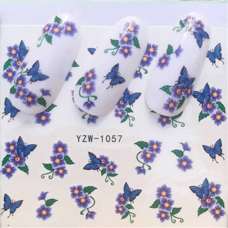 YWK 1 Folha de Estilos Borboleta Adesivos Decalques de Água Prego Colorido Cheio de Dicas Projetado Unha Flor Dicas de Decoração
