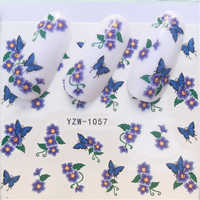 YWK 1 Sheet Butterfly Styles Nail Water Stickers Decals Colorful Full Tips Designed Fingernail Flower Tips Decoration