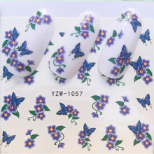 YWK 1 Sheet Butterfly Styles Nail Water Stickers Decals Colorful Full Tips Designed Fingernail Flower Decoration