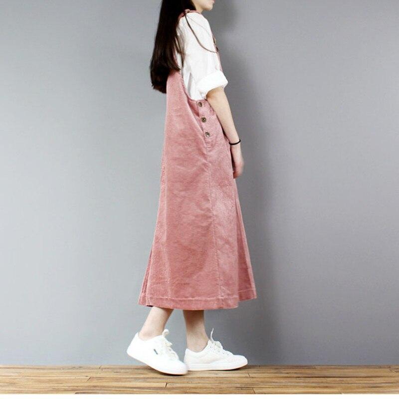 Darmowa wysyłka 2019 nowych moda luźna linia sztruks sukienka dla kobiet długi połowy łydki Plus rozmiar jednoczęściowy s XL kombinezony sukienki w Suknie od Odzież damska na  Grupa 2
