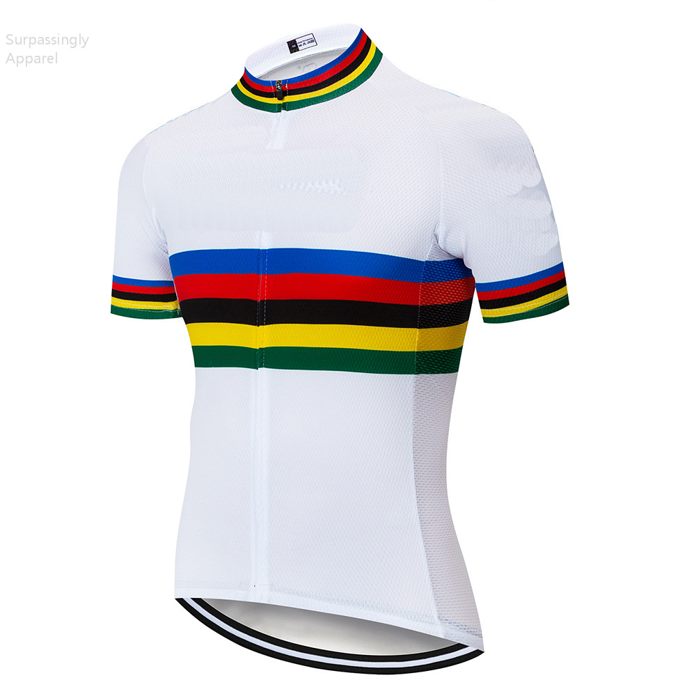 2019 Pro UCI Teams White Striped <font><b>Custom</b></font> Cycling <font><b>Jersey</b></font> Bicycle Short Shirts Summer Mountain <font><b>Bike</b></font> Bicycle Clothing MTB Maillot image