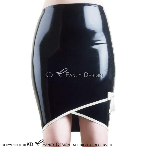 a21a1c2fd Black With White Trims At Bottoms Sexy Latex Skirts With Bows Rubber Skirt  Bottoms Uniform DQ