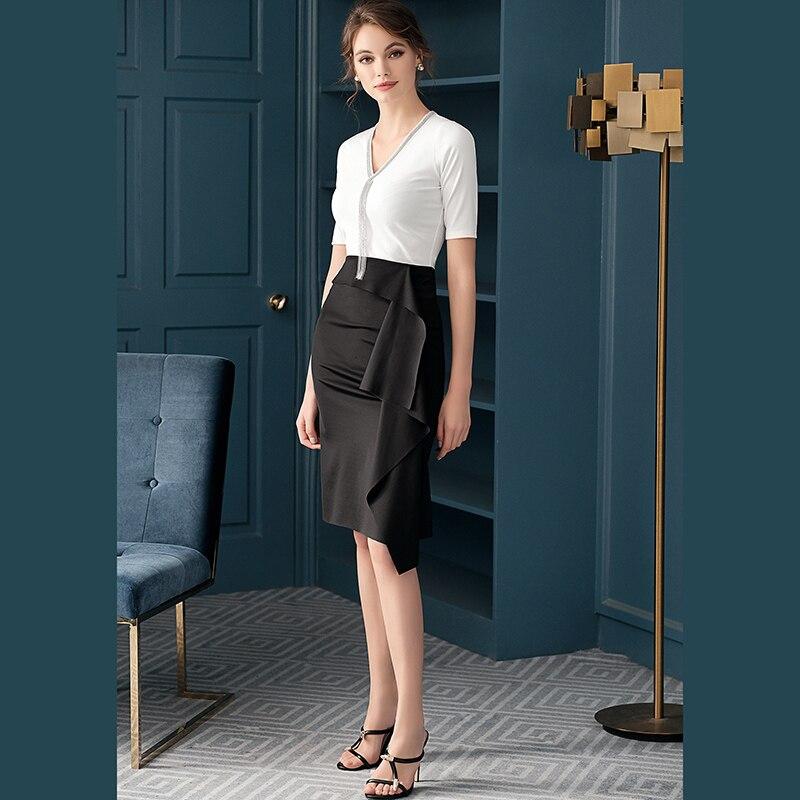 Hot Selling Fashion Vrouwen Rok Ruches Knielengte Office Lady Rok Casual Lady Rok Z1647-in Jurken van Dames Kleding op  Groep 1