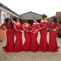 2017 Arabic Red Lace Long Sleeves Maternity Bridesmaid Dresses Elegant Off Shoulder Plus Size Pregnant Women Wedding Guest Dress