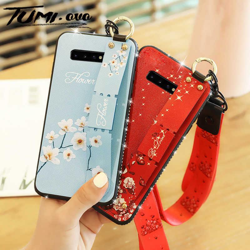 Diamond Lanyard Case untuk Samsung Galaxy S7 Edge S8 S9 Plus S10 J3 J5 J7 2017 J4 J6 2018 Pergelangan Tangan tali Tangan Band Soft Cover Stand