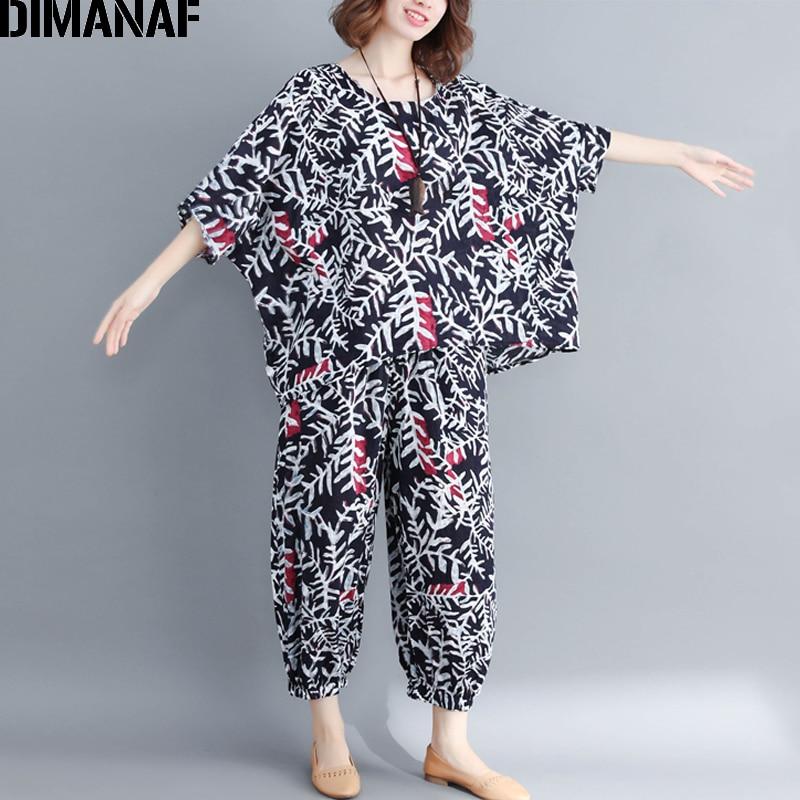 DIMANAF Plus Size Women Sets Summer Female Lady Tops Shirt Long Pants Linen Loose Casual Big Size Print Black 2 Pieces Set 2019