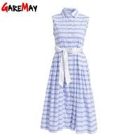 Shirt Dress Women Summer Striped A Line White Blue Dress Female Sleeveless Bow Sundress Robe Longue
