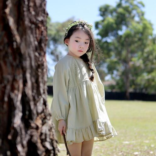 Children Clothing 2017 Spring Lace Stitching Dress Long Sleeved Cotton Cute Kids Korean Doll Girls Dress, Pink/ Light Green spring fall girls dress printing long sleeved dress with pockets cotton kids casual clothes brand children clothing 1 6 yrs