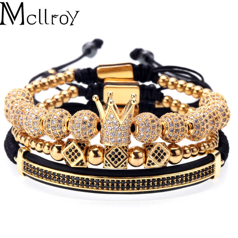 Mcllroy Crown Bracelet Men Charms Luxury Gold Macrame Beads Bracelets For Women Pulseira Masculina Braided Mens Bracelets 2018