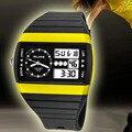 Так 50 М Водонепроницаемый левша Спорт Часы Мужчины Защитный Двойное Движение Кварц Цифровой Светодиодный Дата Авто Резиновые Цифровые Часы