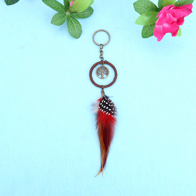 3833967480b01a Dream Catcher Keychians Handmade Keyring Feather Creative Mini Natural  Feather Keyholder Dream Catcher Key Chain Ring Bag Buckle