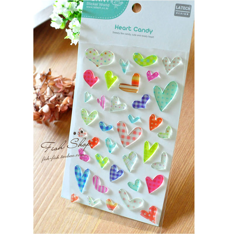 Korea Rainbow color Love heart Stickers /DIY scrapbook diary deco stickers/Decorative items/School stationery Supplies G029