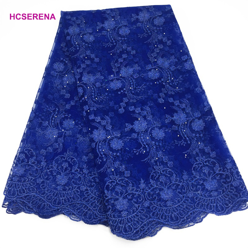 Promotion!High Quality Royal Blue Nigerian Lace French Lace African Lace Fabric For Party Dress.5yards/lot Free Shipping FC09